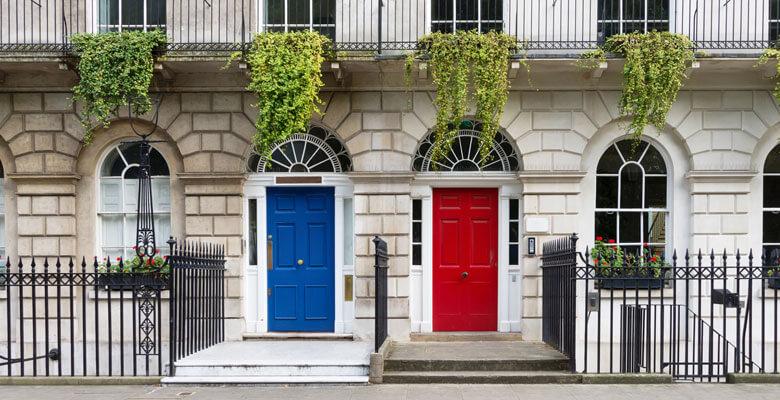 London Houses red door and blue door